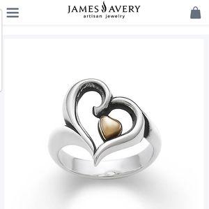 EUC James Avery Joy Of My Heart Ring 18k&925